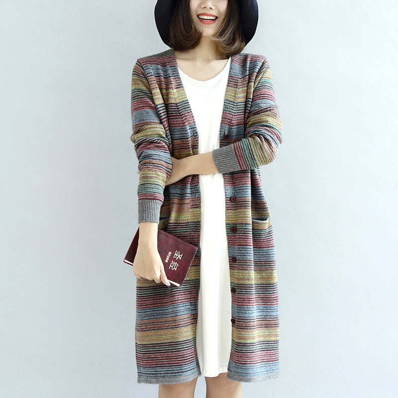 Warm casual knit outwear rainbow baggy loose long sleeve mid sweater cardigans