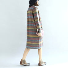 Load image into Gallery viewer, Warm casual knit outwear rainbow baggy loose long sleeve mid sweater cardigans