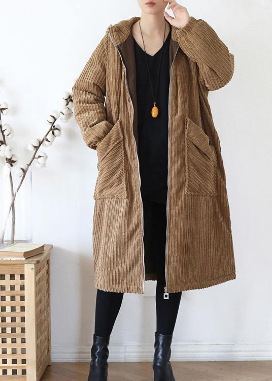Warm casual winter jacket hoodedovercoat khakicorduroy warm winter coat