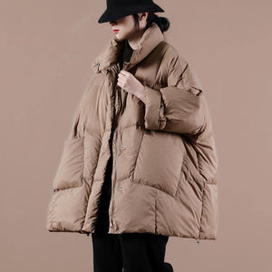 Warm chocolate goose Down coat Loose fitting winter jacket stand collar Large pockets Warm outwear