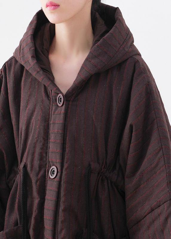 Warm chocolate striped coat Loose fitting snow hooded drawstring coats