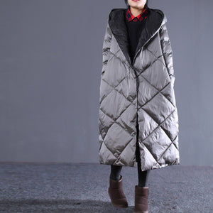 Warm gray Fall Outfits Loose fitting hooded cotton coat New pockets zippered winter outwear