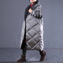 Load image into Gallery viewer, Warm gray Fall Outfits Loose fitting hooded cotton coat New pockets zippered winter outwear