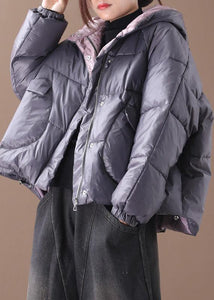 Warm gray Parkas plus size warm winter hooded thick coat