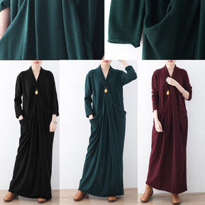 Warm green long sweaters Loose fitting sweater top quality asymmetric winter dresses