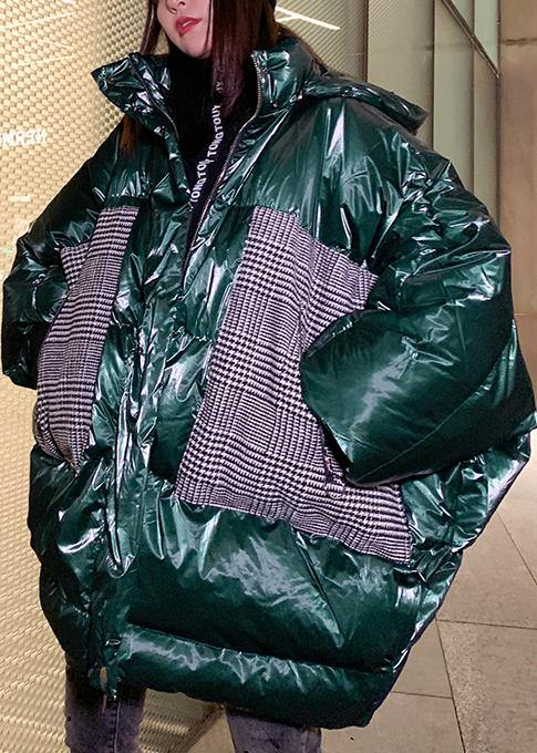Warm green patchwork winter parkas oversize down jacket overcoat hooded