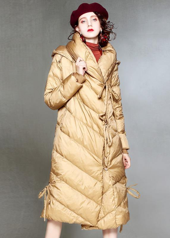 Warm khaki down coat winter plus size clothing hooded womens parka drawstring Warm overcoat