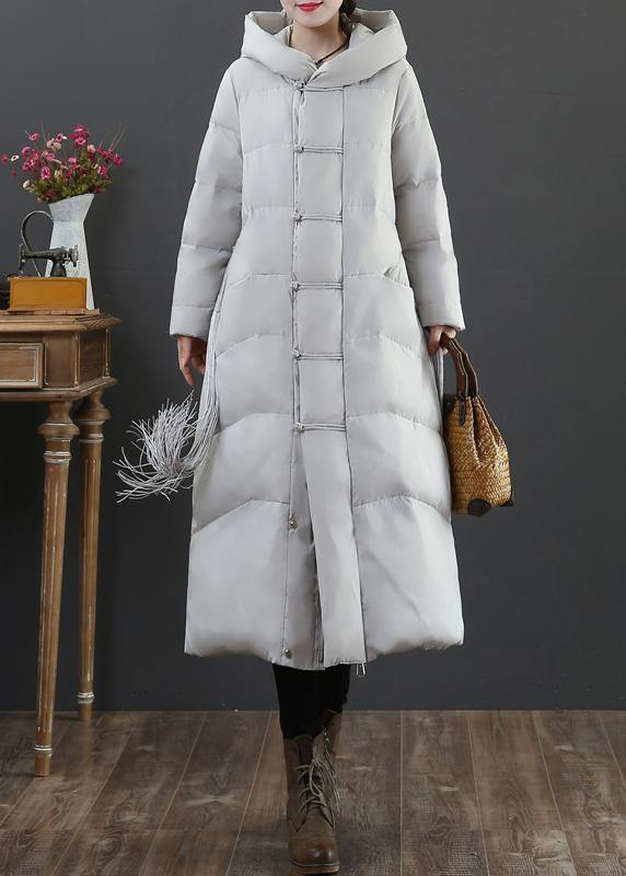Warm light gray duck down coat plus size winter jacket hooded zippered Elegant overcoat
