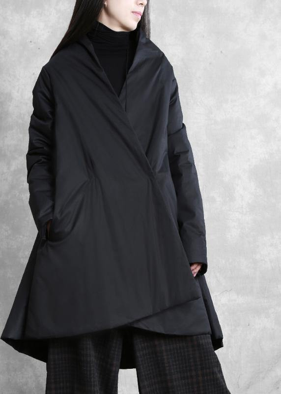 Warm oversize down jacket overcoat black v neck pockets coats