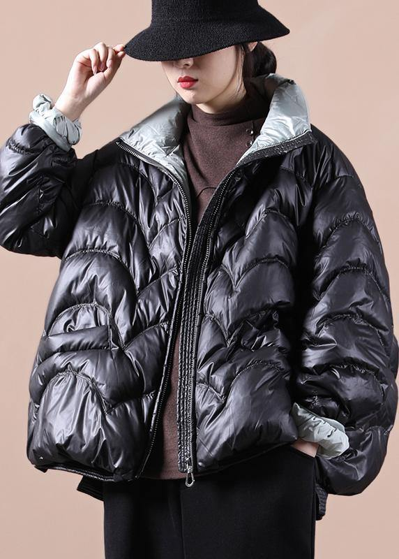 Warm oversize snow jackets overcoat black stand collar zippered warm winter coat