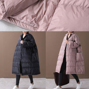 Warm plus size down jacket coats pink stand collar Large pockets duck down coat