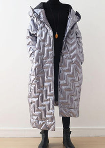Warm silver glossydown coat winter plus size hoodedwomens parka thick Elegant Jackets
