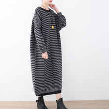 Load image into Gallery viewer, Warm striped knit dresses casual patchwork sweater casual  gray pullover sweater