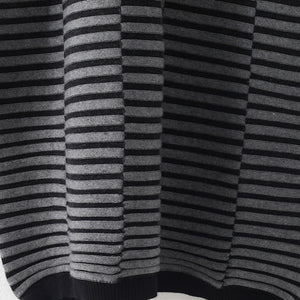 Warm striped knit dresses casual patchwork sweater casual  gray pullover sweater