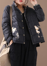 Load image into Gallery viewer, Warm women parka coats black patchwork print stand collar pockets warm winter coat