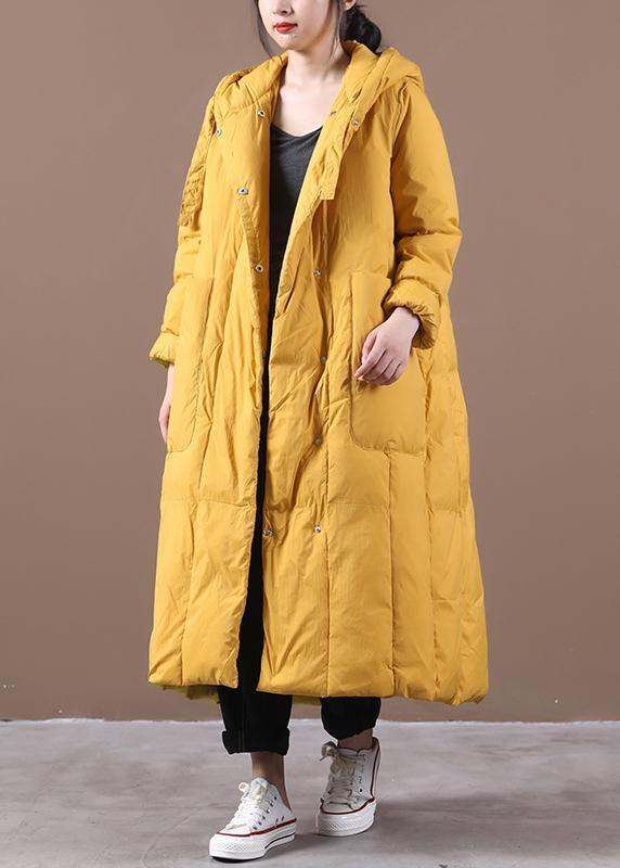 Warm yellow warm winter coat plus size clothing down jacket hooded Large pockets Elegant coats