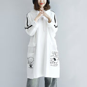 White hoodies oversized women plus size winter dresses casual pullover