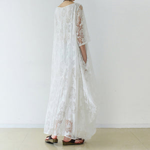 White roses chiffon maxi dresses long tulle caftans oversize gown