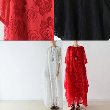 Load image into Gallery viewer, White roses chiffon maxi dresses long tulle caftans oversize gown
