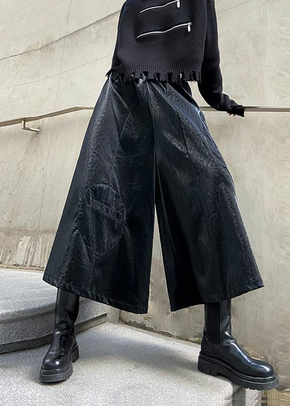 Wide leg pants women's high waist straight tube casual PU leather pants 2020 new style