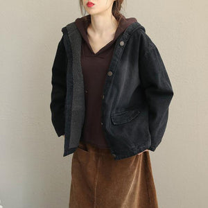 Winter Black Hoodie Short Casual Denim Coat Women Loose Jacket