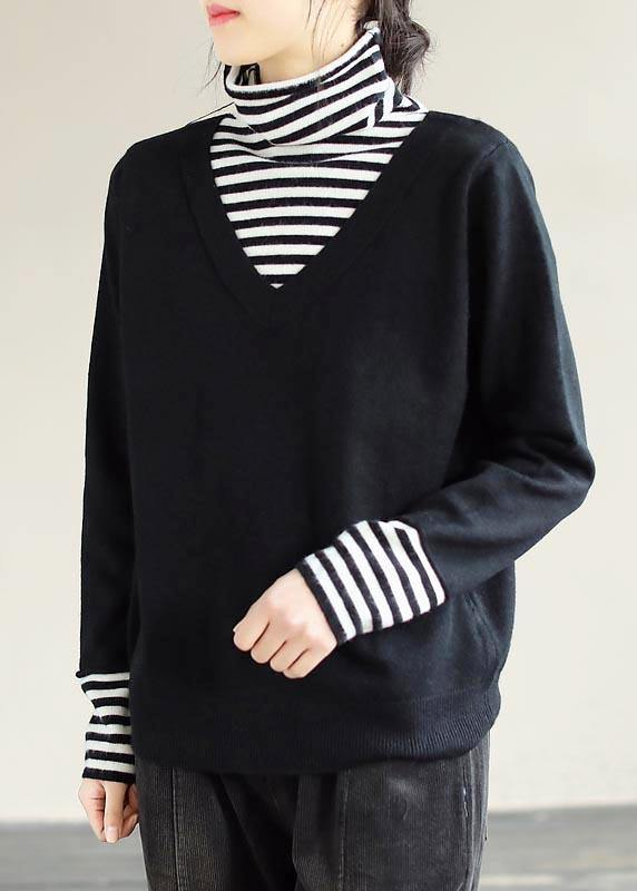 Winter Spring Black Sweaters Loose fitting Patchwork High Neck Knit Tops