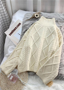 Winter beige crane tops high neck thick oversize knit sweat tops