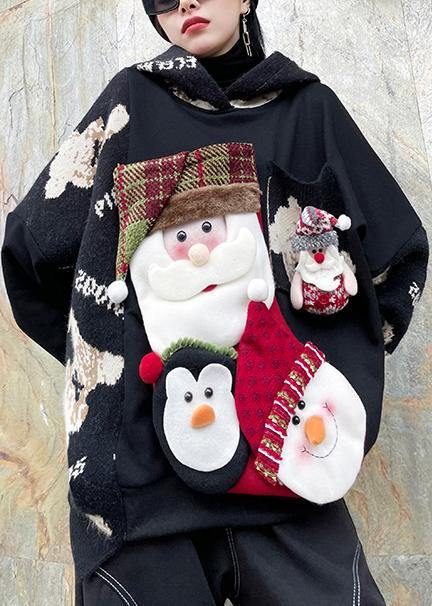 Winter black Christmas design clothes o neck plus size knit sweat tops