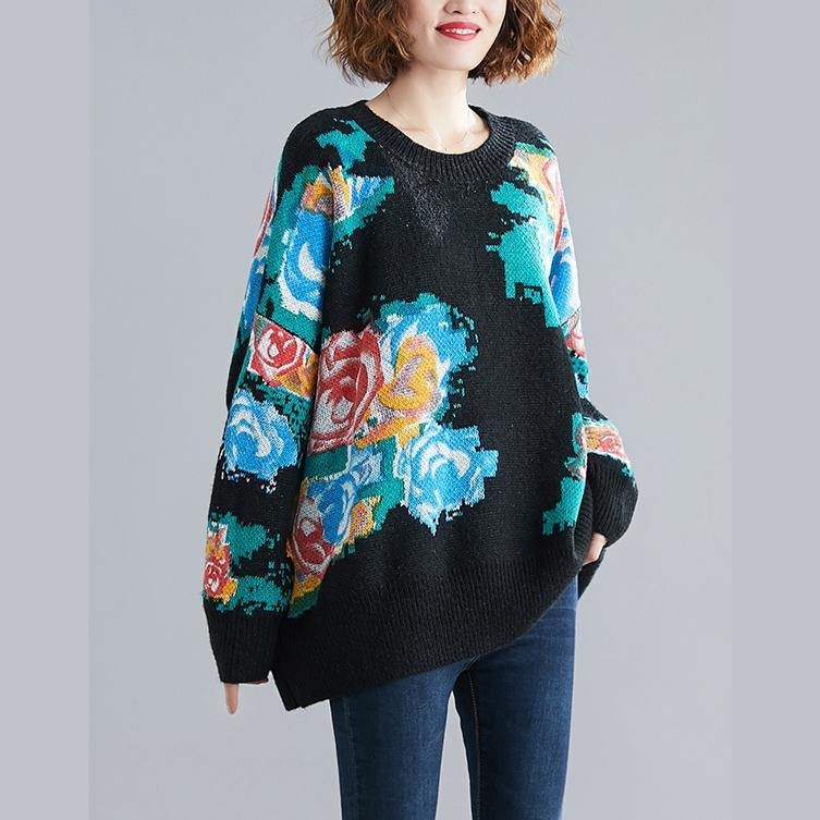 Winter black print knitted t shirt o neck plus size knit sweat tops