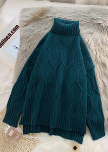 Winter blue clothes high neck baggy oversize knit tops