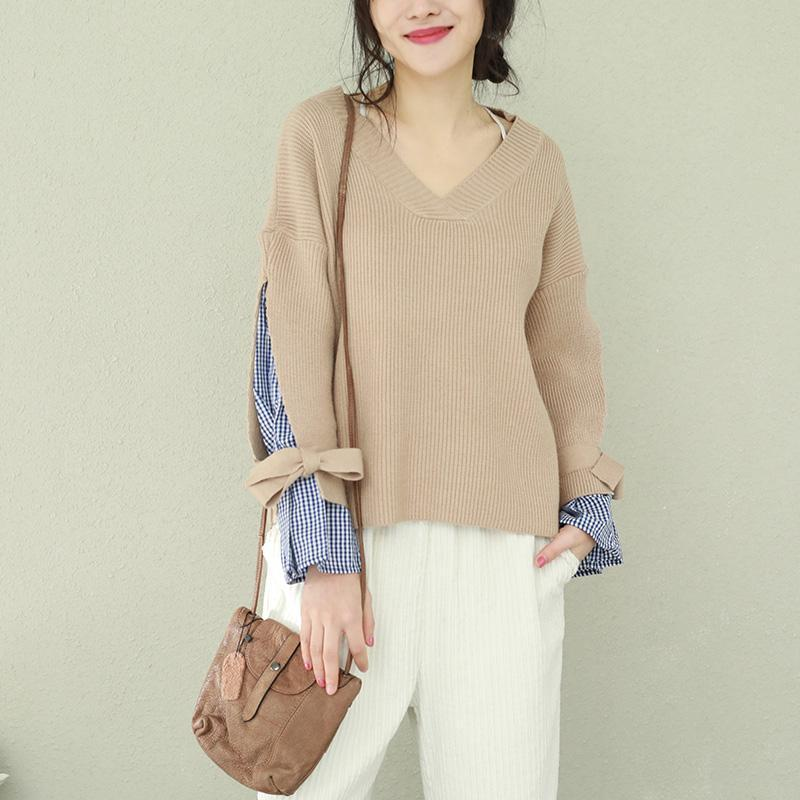 Winter brown knit tops plus size v neck knit sweat tops false two pieces