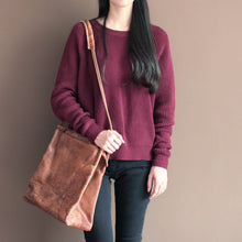 Load image into Gallery viewer, Winter casual burgundy cotton sweater tops plus size vintage knit blouse