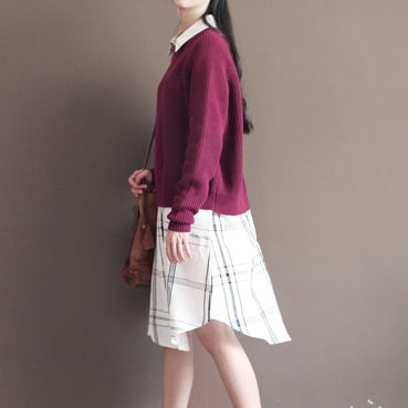 Winter casual burgundy cotton sweater tops plus size vintage knit blouse