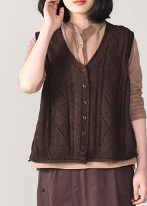 Winter chocolate knit coats trendy plus size sleeveless knitted coat back open