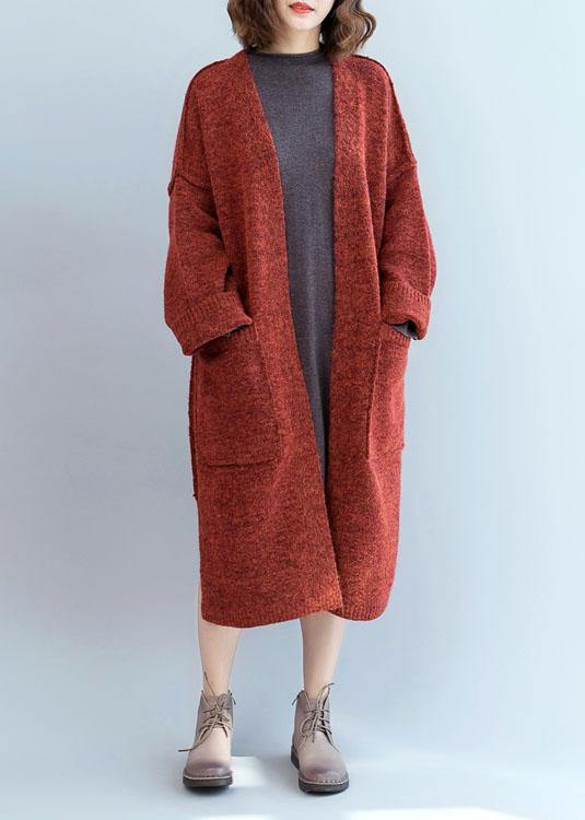 Winter fall sweaters oversized red pockets patchwork sweater coat