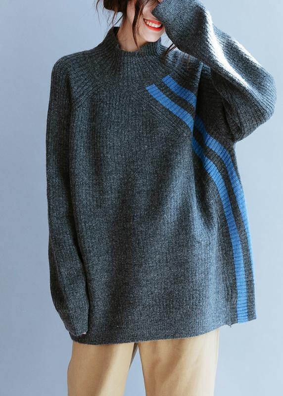 Winter gray striped knit blouse high neck Loose fitting fall knitwear