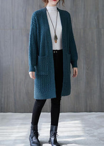 Winter knit sweat tops oversize blue pockets baggy coats
