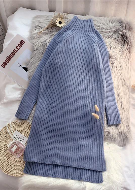 Winter low high design Sweater high neck outfits Quotes blue Ugly knitted tops