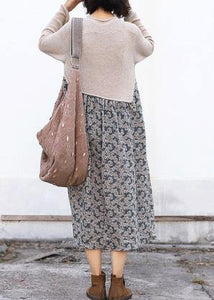 Winter o neck Sweater patchwork dresses Classy nude Mujer sweater dresses