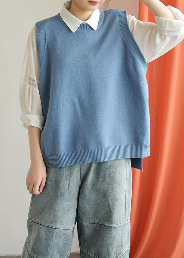 Winter o neck blue knit sweat tops casual low high design top silhouette