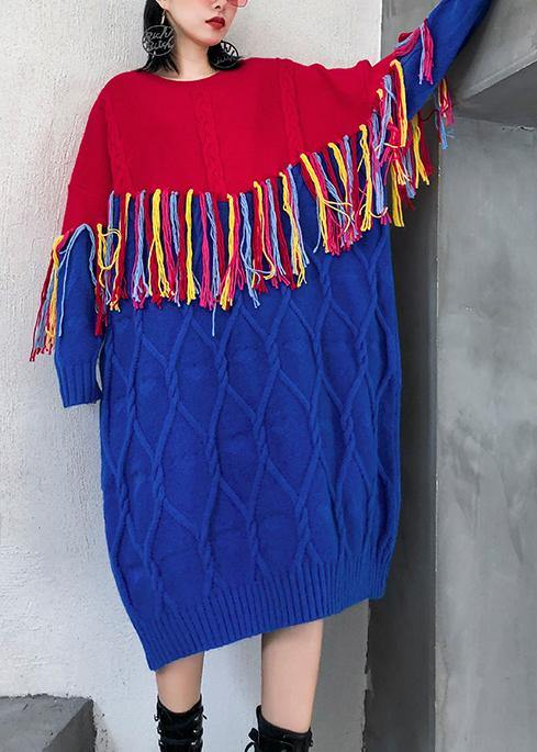 Winter o neck tassel Sweater weather Women blue patchwork red Mujer knitwear