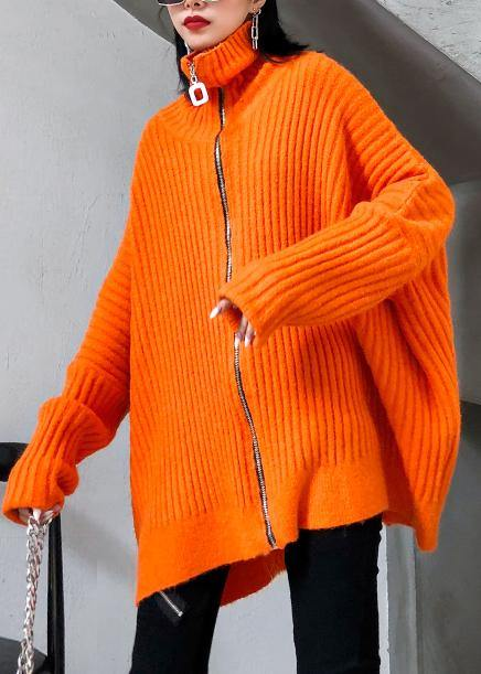 Winter orange knit tops trendy plus size high neck zippered knit blouse