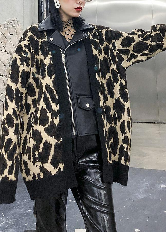 Winter patchwork knit outwear plus size clothing leopard false two pieces knit coats