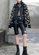 Load image into Gallery viewer, Winter patchwork knit outwear plus size clothing leopard false two pieces knit coats