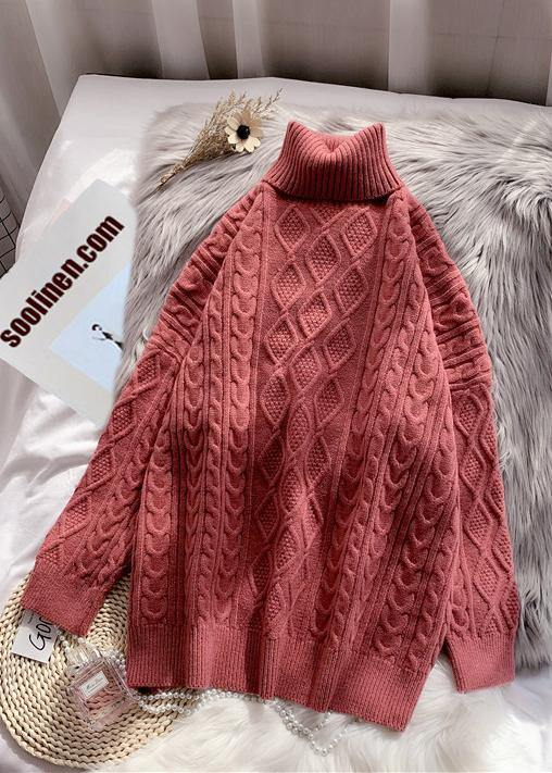 Winter rose knit tops casual high neck thick knit blouse