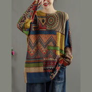 Winter Abstract Pattern Knitted Blouse Casual O Neck Knitted t Shirt