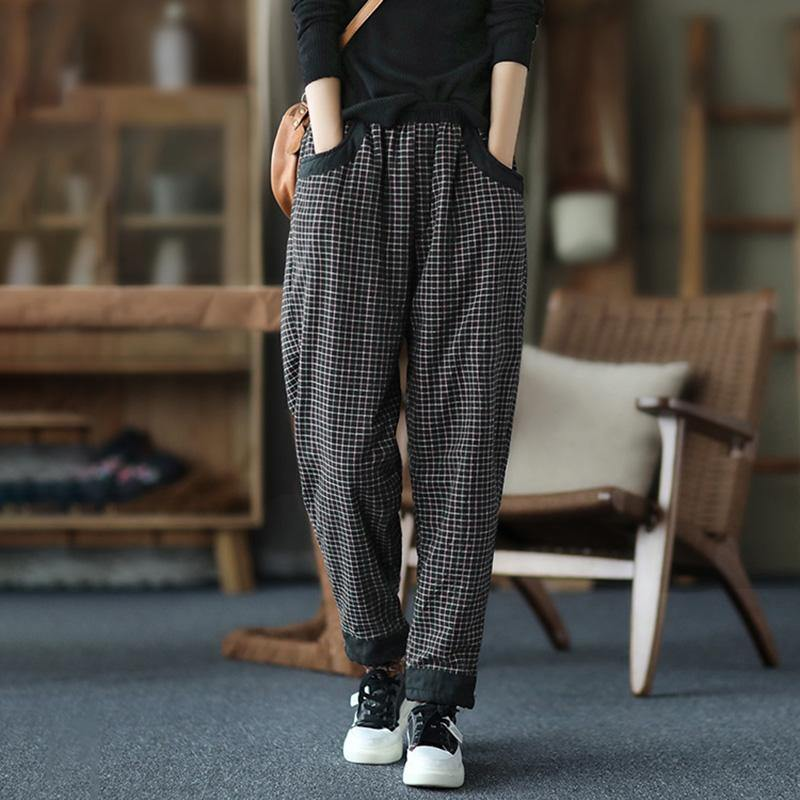 Winter Plaid Thick Elastic Waist Pants Plus Size