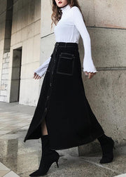 Women Black High Waist Pockets Skirts Summer