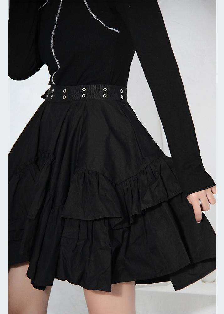 Women Black Ruffles Button Summer Skirts