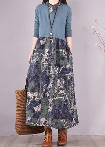 Women Blue Print Wardrobes Patchwork Robes Spring Dresses